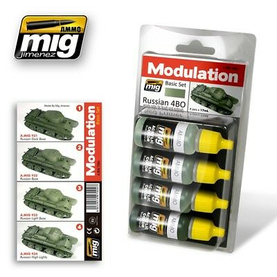 Ammo of Mig RUSSIAN 4BO MODULATION SET Acrylic Colors Set 4 Jars 17ml #7004