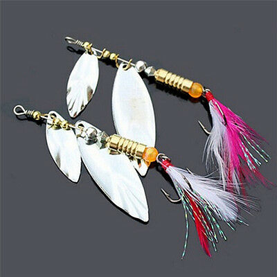 Hook Treble Spinner Bait Tackle Lures Sequins Spoon Feather Fishing Paillette W