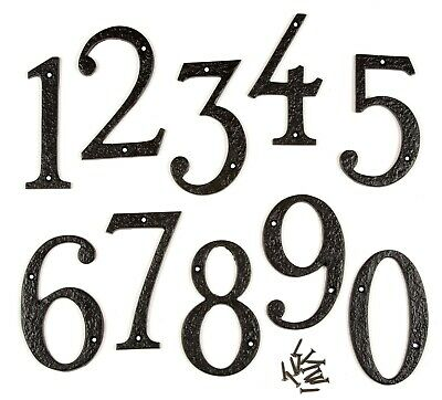 "6"" / 150mm LARGE HEAVY BLACK ANTIQUE CAST IRON HOUSE DOOR NUMBERS NUMERALS"