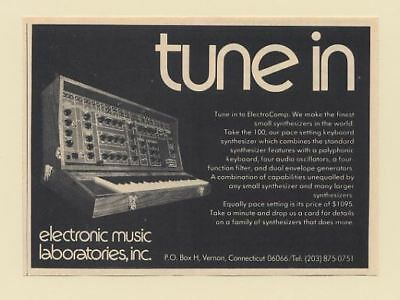 1972 ElectroComp 100 Keyboard Synthesizer Electronic Music Laboratories Print Ad