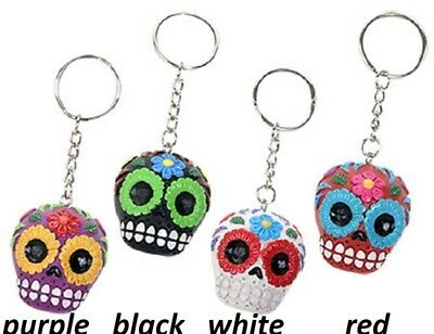 White Sugar Skull Keychain -   Day Of The Dead  - New