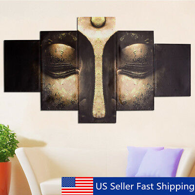 5Pcs Modern Buddha Head Canvas Print Art Painting Wall Picture Home Decor Framed