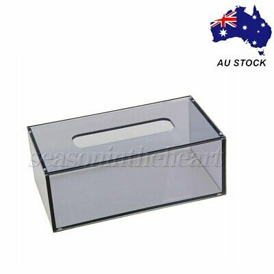 226x126x84mm Clear Acrylic Grey Tissue Box Paper Cover Napkin Case Holder