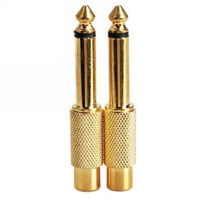 """2x6.35mm 1/4"""" Mono Male Jack to RCA Female Plug Audio Adapter Cable Converter F^"""