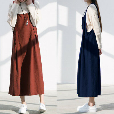 ZANZEA 8-24 Women A-Line Flare Loose Long Maxi Overalls Sundress Plus Size Dress