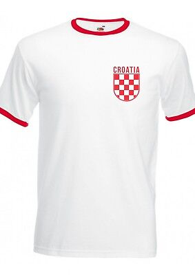 Croatia Badge Retro Ringer T-Shirt - Croatian Check Hrvatska World Cup