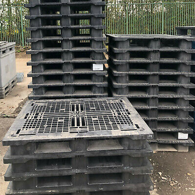 1300x1100 HEAVY DUTY PLASTIC PALLETS (FULL PERIMETER)- SET OF 10 -GOOD CONDITION
