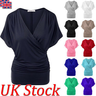 UK Womens Summer Batwing T shirt Ladies Wrap V-neck Casual Tops Blouse Size 6-18