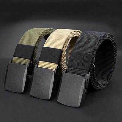 Fashion Mens Elastic Stretch Woven Rubber Canvas Leather Pin Buckle Waist Belts