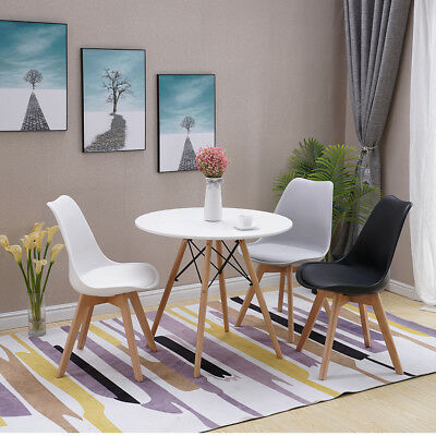 Set of Wooden Design Dining Chairs Chair Retro Plastic Lounge White Black Grey