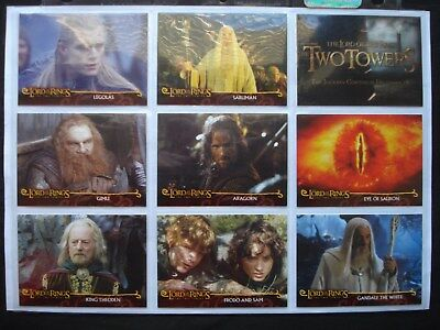 2002 Cadbury/topps *lord Of The Rings: Two Towers* Complete 20 Card Promo Set