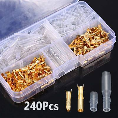 240Pcs Crimp Brass Male Female Terminals Spade Connectors Insulated Sleeves Set