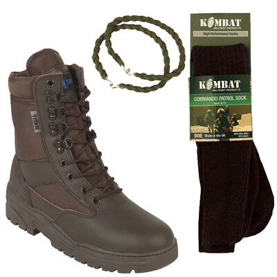 Brown Patrol Combat Boots Leather 50/50 Tactical With Trouser Twists And Socks