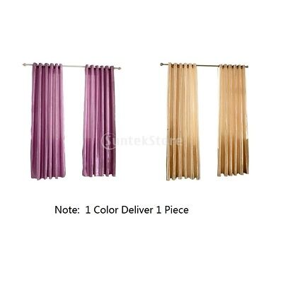 Thermal Insulated Solid Grommet Window Curtain Drape Panel Purple+Coffee