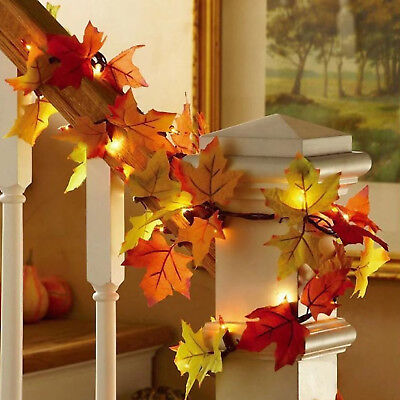 10 led autumn leaf string light lamps fall leaves garland party