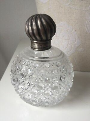 Victorian Crystal Perfume Bottle Silver Topped