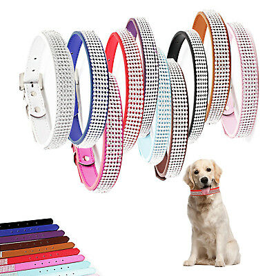 Crystal Diamante Dog Cat Puppy Soft Collar Tag PU Leather Rhinestone Safety Band