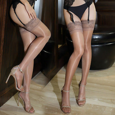 Womens Glossy Ultra-thin Shiny Sheer Lace Top Thigh High Silk Stockings Hold  P2