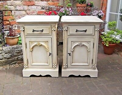 Pair French Style Chateau Chic Distressed Bedside Cabinets~Lamp Chests~Cupboards