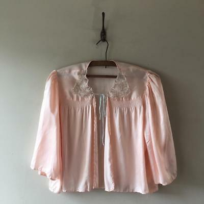 True Vintage 1930s/40s/50s Peach Silk Satin Lingerie Bed Jacket Top UK8 10 12