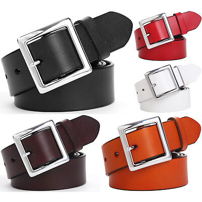 Women's Jean Belt, Classic Square Buckle Handcrafted Genuine Leather Belt