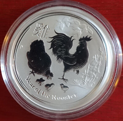 "2 oz Lunar II silver coin 2017, Rooster "" very rare ""  from sealed roll"