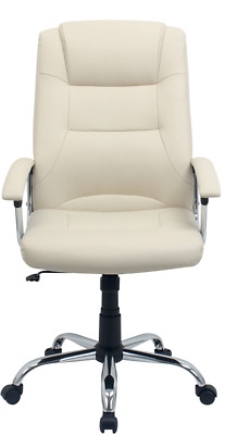 Berlin Leather Faced Executive Office Chair in Cream/White