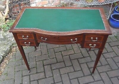 Elegant Edwardian Inlaid Five Drawer Desk~Hall Console Table~New Green Inlay