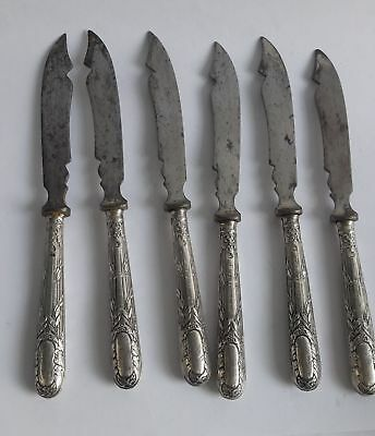 Set of 6 Antique German 800 Silver Marked Fruit Knives Robert Fead Mosley, IOB