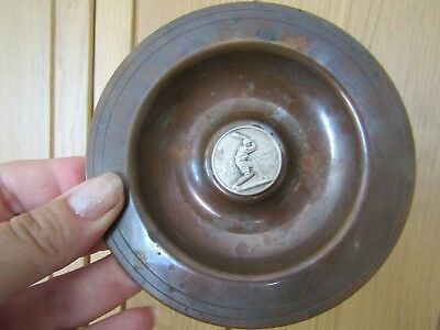 Vintage Copper Dish/ashtray With 'silver' Coin - Cricketer Batting - Needs Clean
