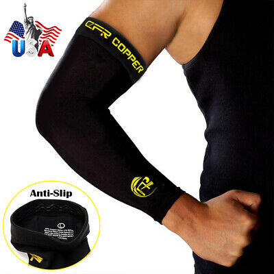 Copper Elbow Support Sleeve Arm Brace Arthritis Fitness Compression Men Women US