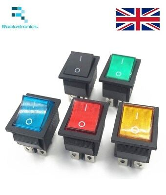 Rectangular Latching Rocker Switch 2 Position 4 Pins Black Red Green Blue Yellow