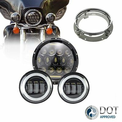 "7"" LED Daymaker DRL Hi/Lo Headlight&Passing Lights For Harley Touring Road King"