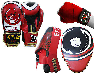 Boxing Gloves Punch Bag Training And Boxing Focus Pads With Free Hand Wraps