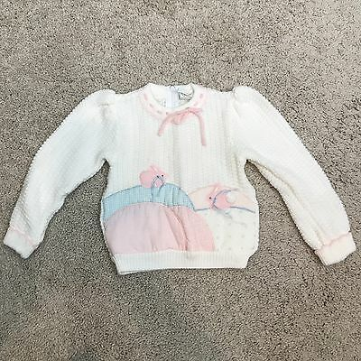 Vintage Toddler Girls 18 Months Sweater Baby Girl Pink Bunny Rabbits White LS