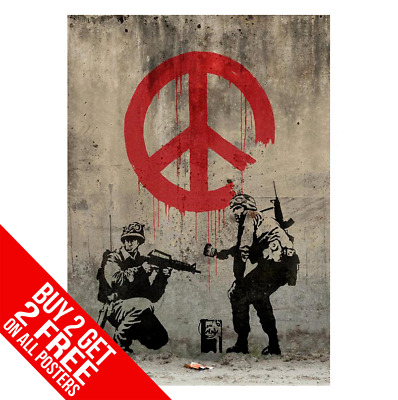 Banksy Soldiers Peace Sign Poster Art Print A4 A3 - Buy 2 Get Any 2 Free