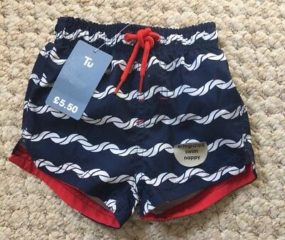 TU Baby Boy Swimming Trunks With Integrated Swim Nappy Size 6-9 Months BNWT