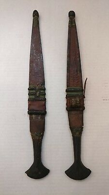 Two Antique African Tribal Knifes Daggers With Leather Sheaths