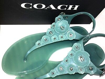 ffb96aa08 COACH Thong JELLY SANDALS Tea Rose T-STRAP Flat Shoes SIZE 8 Marine BLUE  Summer