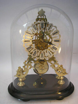 Victorian Skeleton Clock on Black Marble Base