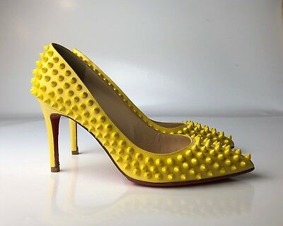 c0a8c366609a Christian Louboutin Pigalle 85 Spikes Yellow Patent Leather Pumps Euro 37
