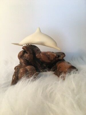 Vintage John Perry DOLPHIN Figurine Sculpture on Driftwood