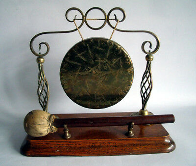 Antique 19Th Century Oak/brass Dinner Gong~Victorian/edwardian Dining/table Ware
