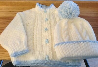 Baby Cardigan New Hand Knitted With Matching Bobble Hat 0-3 Months