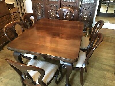 Victorian Mahogany Extending Dining Table, 6 Matching Chairs
