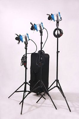 3 FRESNEL CINEMA LIGHT KIT + TRIPODS-  650W/each + WHEELED CASE