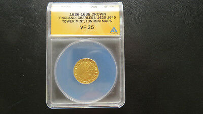 1636 -1638 England  Crown - Gold Coin