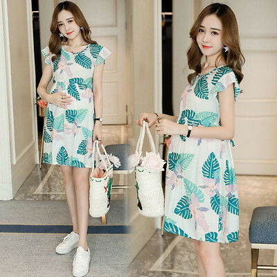 Floral Dress Nursing Breastfeeding Maternity Ruffles Cotton Cute M/L/XL/2XL