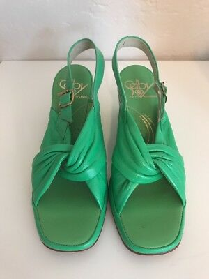 Vintage 70s Shoes Mint Green Wedge Heel Selby 5th Avenues Womens Size 6.5 RARE