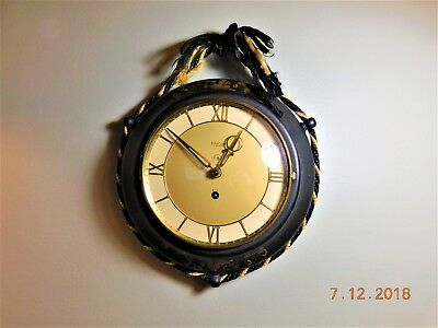 EIGHT DAY VINTAGE Wall Clock Jewels Hand Painted Decorative Rope ...
